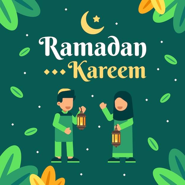 Two moslem kids in ramadan kareem background Premium Vector