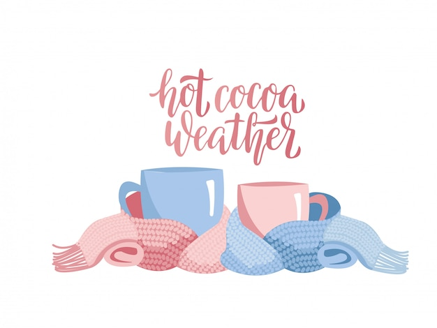 Two mugs in knitted scarf. Premium Vector
