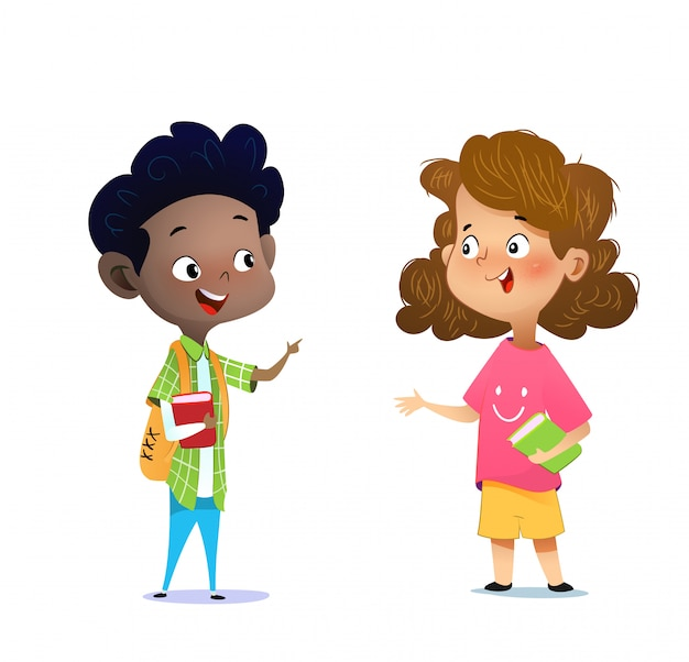 Two multiracial children studying, reading books and discuss Premium Vector