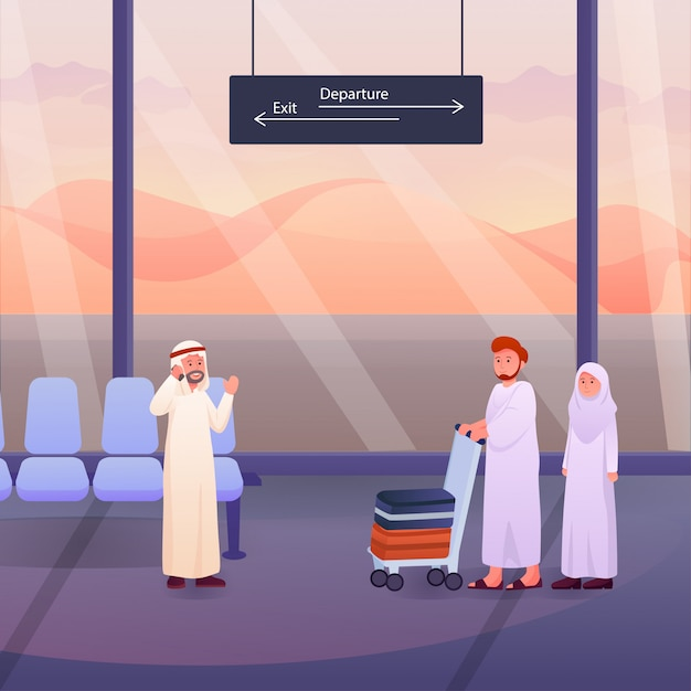 Two muslims after hajj or umrah pilgrims at the airport Premium Vector