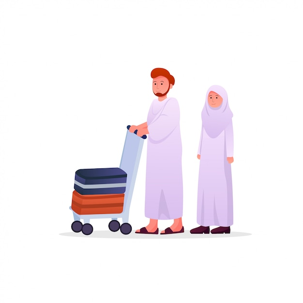 Two muslims couple wearing ihram Premium Vector
