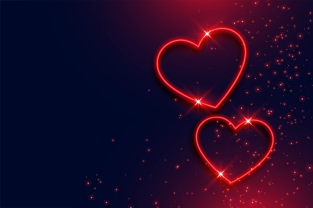 Two neon red hearts background with text space Free Vector