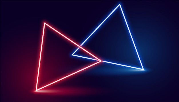 Two neon triangle in red and blue colors Free Vector
