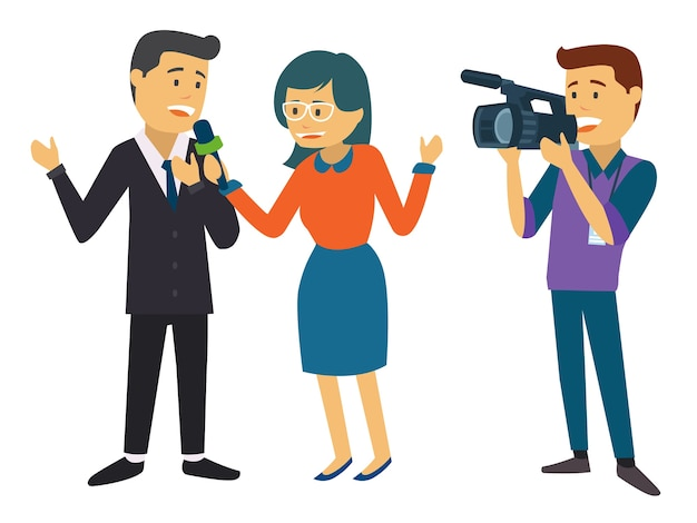 Two news reporter being recorded by camera guy Premium Vector