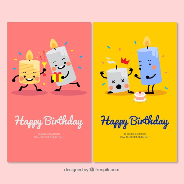 Two nice hand drawn birthday cards with candles Free Vector