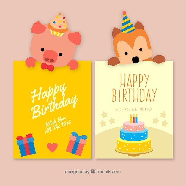 Two Nice Hand Drawn Birthday Cards With A Dog And Pig Free Vector