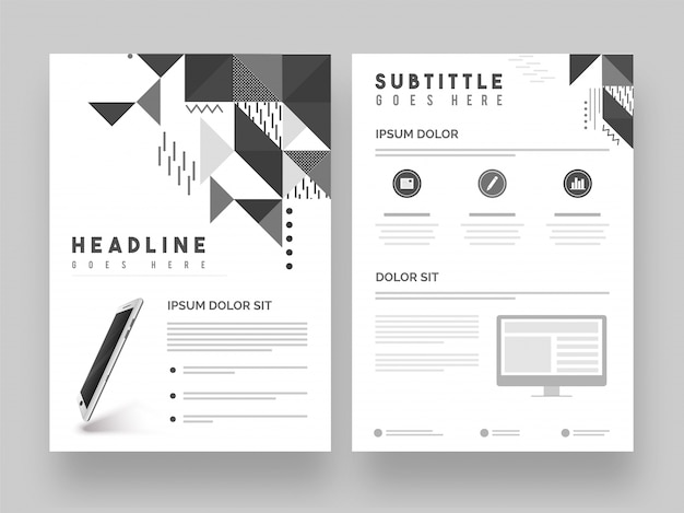 Two pages corporate brochure template or cover design vector two pages corporate brochure template or cover design premium vector saigontimesfo