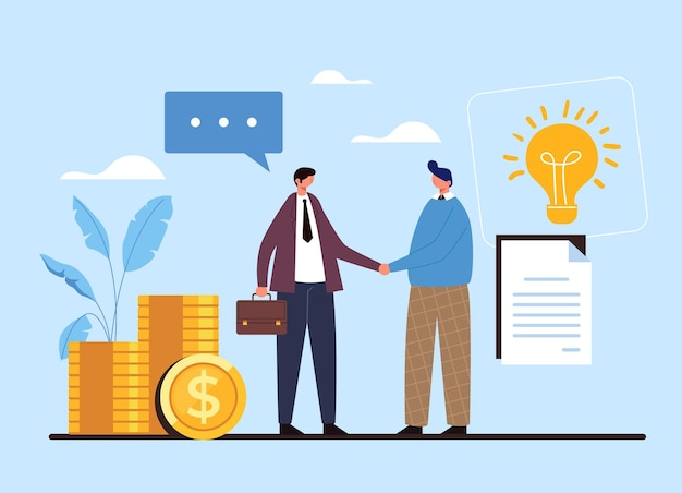 Two people businessman and worker shaking hands. contract deal agreement start up idea money concept. Premium Vector