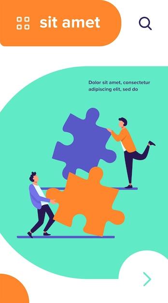 パズルのパーツをつなぐ二人。一緒に解決策に取り組んでいる同僚やパートナーフラットベクトルイラスト 無料ベクター