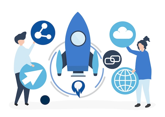 Two people holding startup technology icons illustration Free Vector