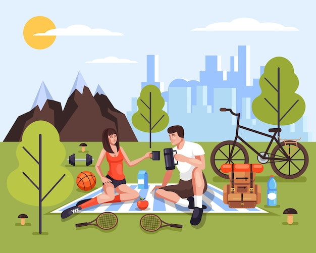 Two people man and woman couple tourists characters relaxing in nature park Premium Vector