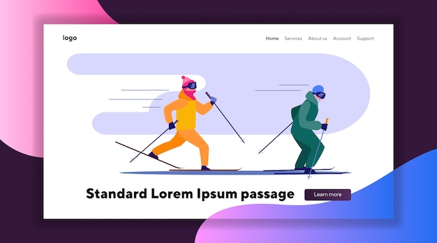 Two people skiing fast in row Free Vector