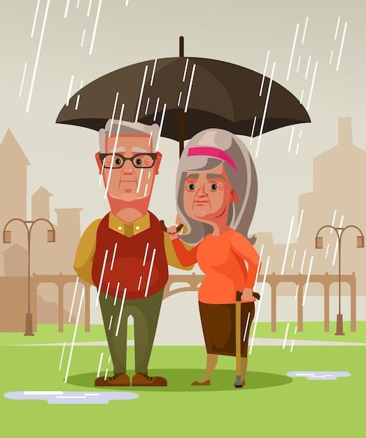 Два человека мужчина муж и женщина жена старая пара стоя под дождем, держа зонтик. Premium векторы