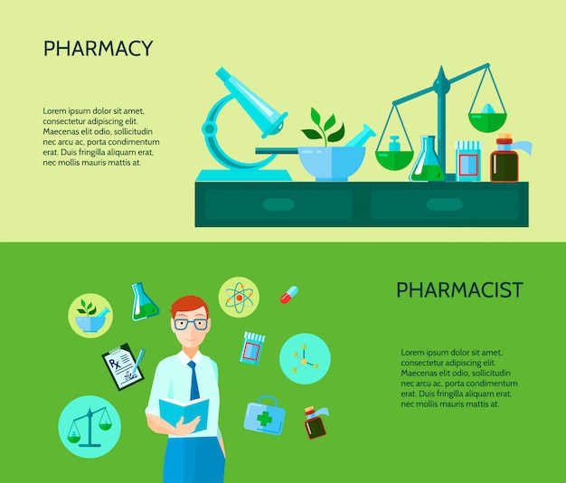 Two pharmacy banners Free Vector