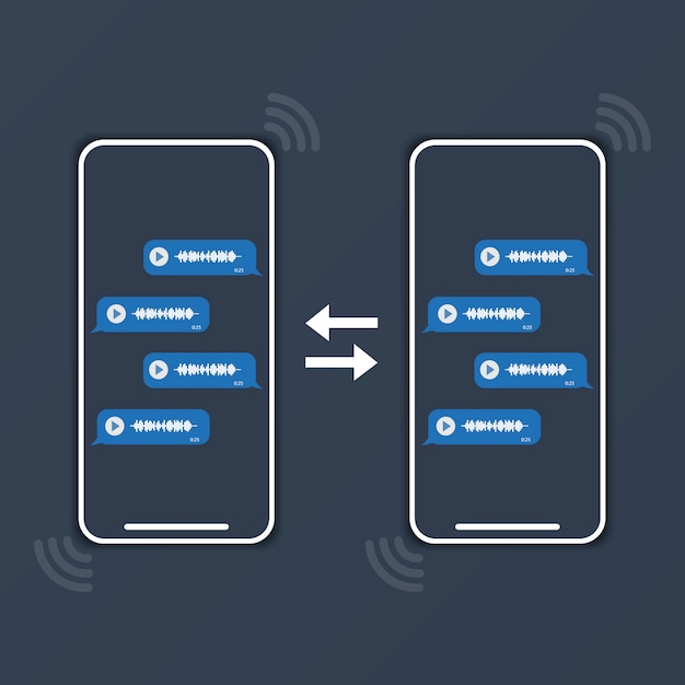 Two phones are exchanging voice messages Premium Vector