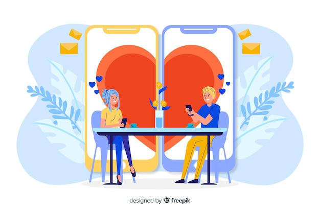 Two phones creating a shape of heart Free Vector