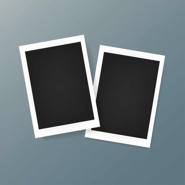Two photo frame on the background Premium Vector