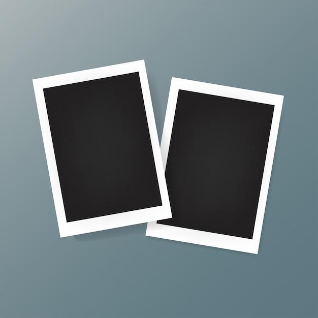 배경에 두 개의 사진 프레임 프리미엄 벡터