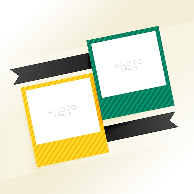 Two photo frame with ribbons background Free Vector