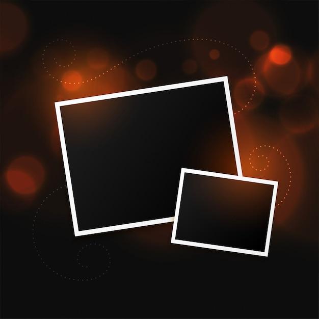 Две рамки для фотографий на фоне боке Бесплатные векторы