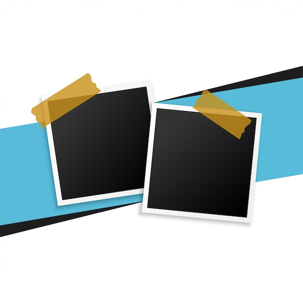 Two photo frames with tape background Free Vector