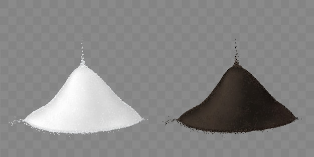 Two piles of salt and ground black pepper Free Vector