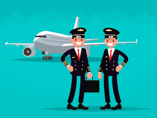 Два пилота на фоне самолета. Premium векторы