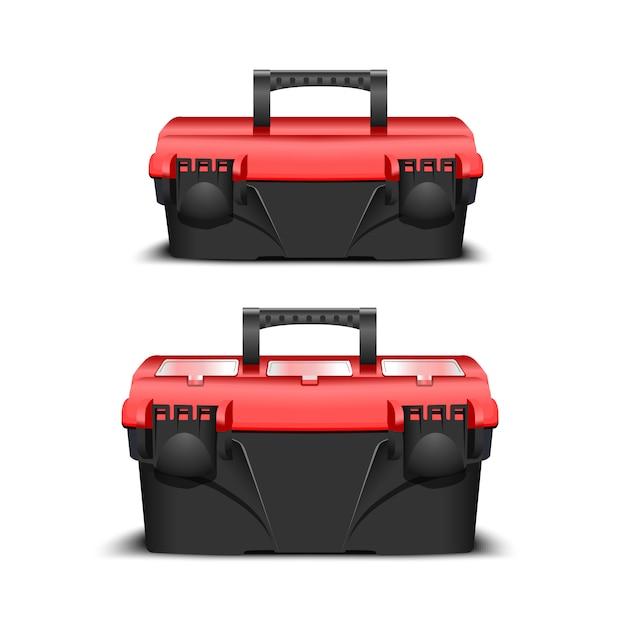 Два пластиковых черных ящика для инструментов, красная крышка. инструментарий для застройщика или промышленного магазина. реалистичная коробка для инструментов Premium векторы