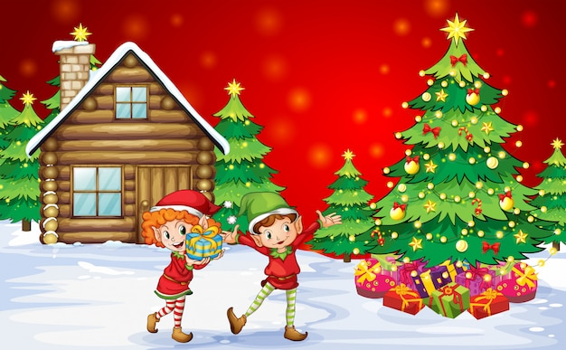 Two playful dwarves near the christmas trees Free Vector