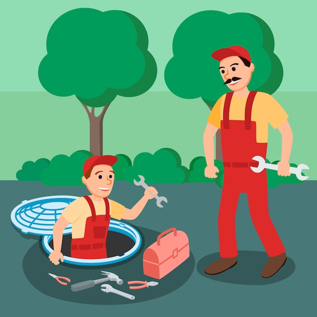 Two plumber repairman with spanner in manhole Premium Vector