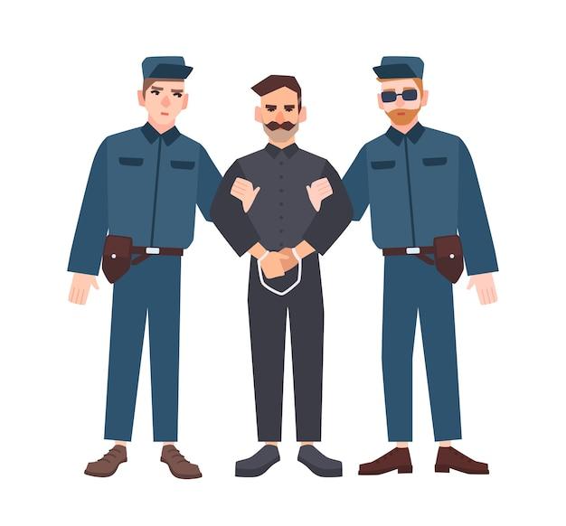 男性の犯罪者または囚人を手錠で保持している制服を着た2人の警官 Premiumベクター