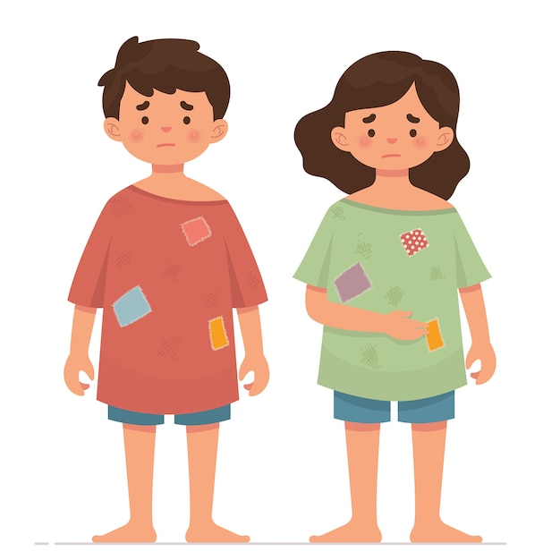 Two poor children with dirty clothes Premium Vector