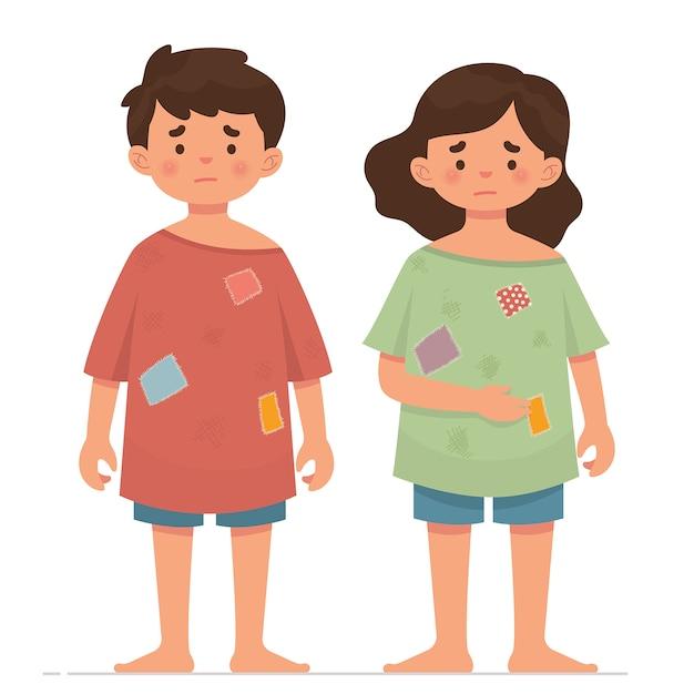 汚れた服を持つ2つの貧しい子供たち Premiumベクター