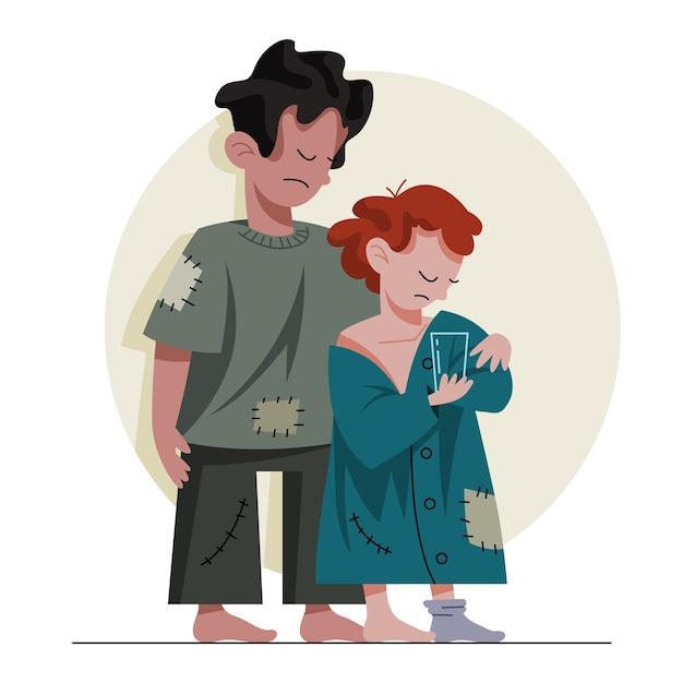 2人の貧しい子供たち。汚い服を着た悲しい子供たちが助けを求めています。ホームレス。 Premiumベクター