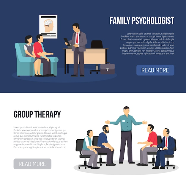Two psychologist banners Free Vector
