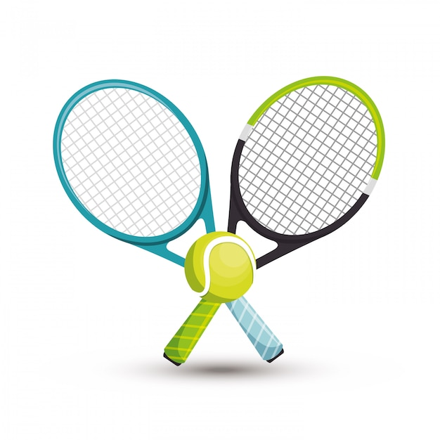 Two racket tennis ball illustration Free Vector