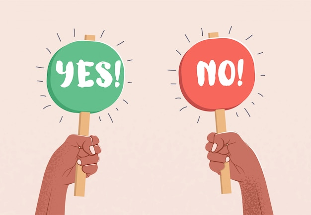 Two raised up arms holding tables with yes and no caption. choice concept. Premium Vector