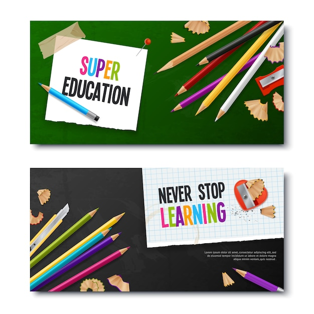 Two realistic banners with colored pencils Free Vector