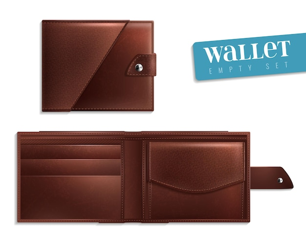 2つの現実的な開いた閉じた空の財布のアイコンセットの革と男性のためのスタイリッシュなベクトル図 Premiumベクター