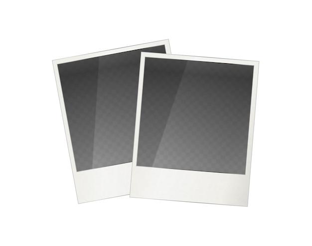 Two realistic polaroid photo frame Premium Vector