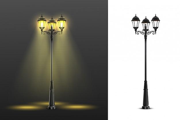 色とりどりの黒と白の組成図で設定された2つの現実的な街路灯組成 無料ベクター