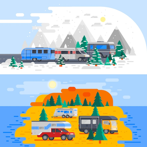 Two recreational vehicles composition Free Vector