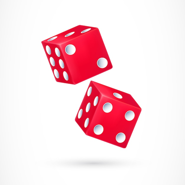 Two red dice Free Vector