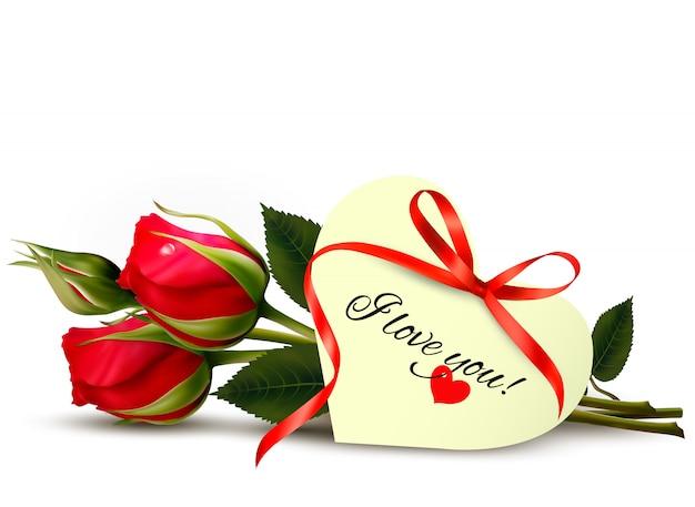 내가 당신을 사랑 참고 두 빨간 장미. 프리미엄 벡터