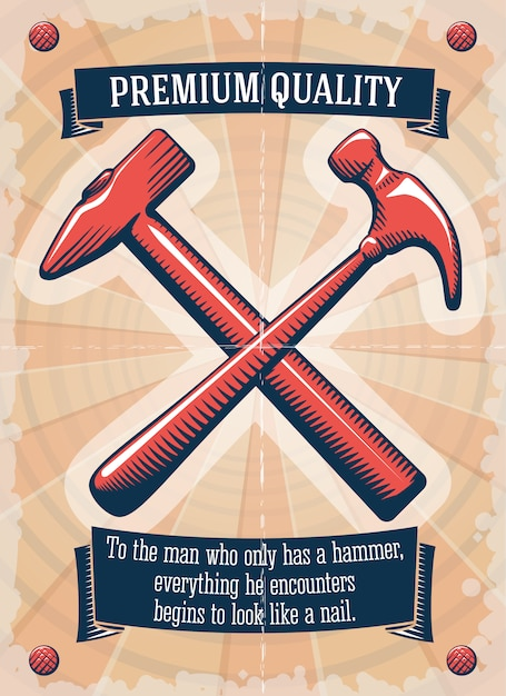 Two retro hammers tool shop poster Free Vector