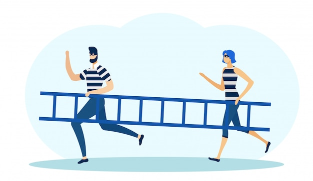 Two robbers in masks holding ladder and running Premium Vector