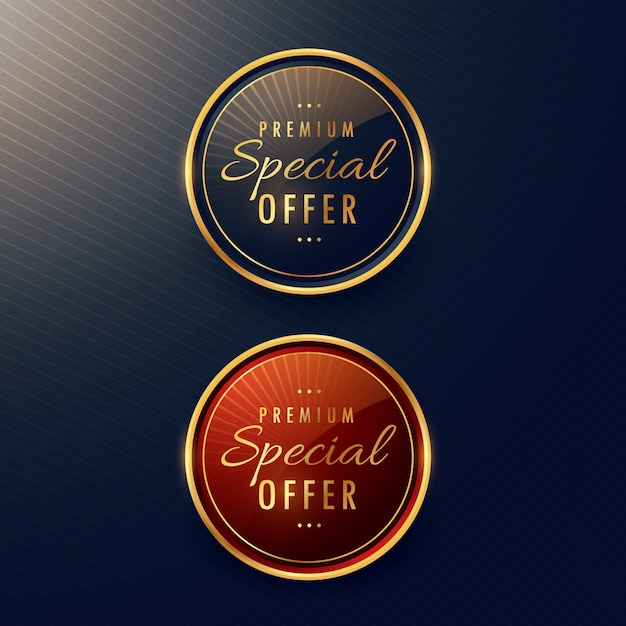 Two round premium labels Free Vector
