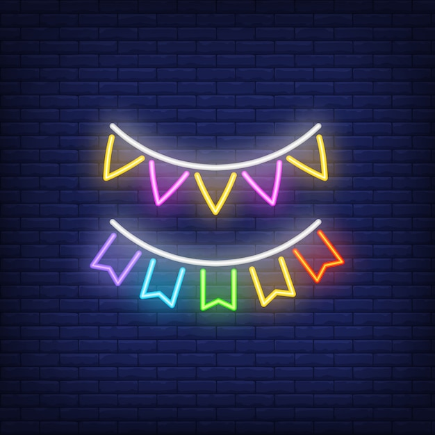 Two rows of multicolored buntings on brick background. neon style sign. Free Vector
