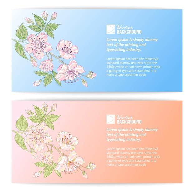 Two sakura banners Free Vector