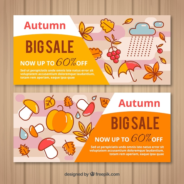 Two sales banners for autumn